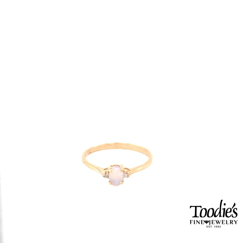 Toodie's Signature Fashion Vintage Opal and Diamond 3 Stone Ring