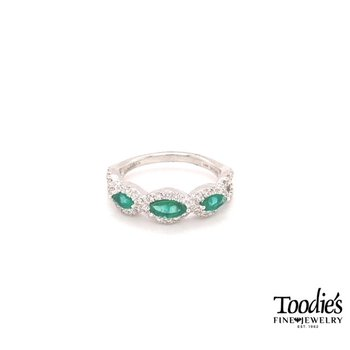 Emerald And Diamond Three Stone Halo Ring