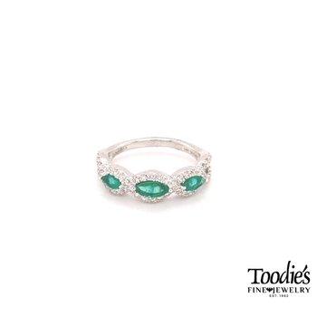 Emerald And Diamond Three Stone Halo Ring