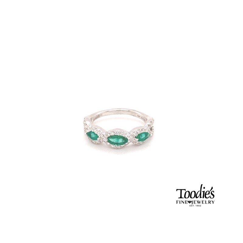 Gabriel Fashion Emerald And Diamond Three Stone Halo Ring