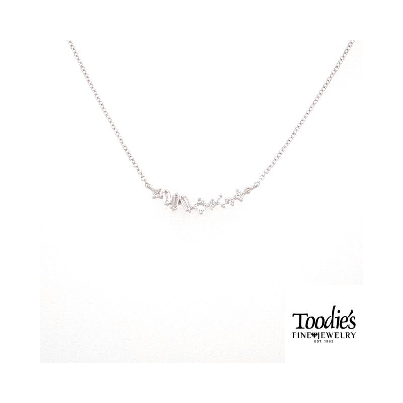 Toodie's Signature Fashion Curved Style Diamond Bar Necklace