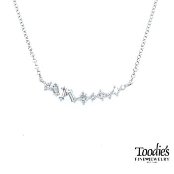 Curved Style Diamond Bar Necklace