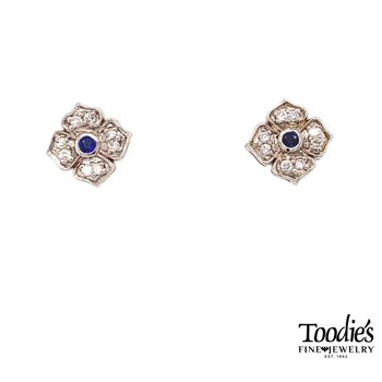Blue Sapphire And Diamond Vintage Halo Earrings