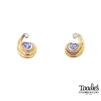 Swirly Pear Shaped Tanzanite And Diamond Earrings