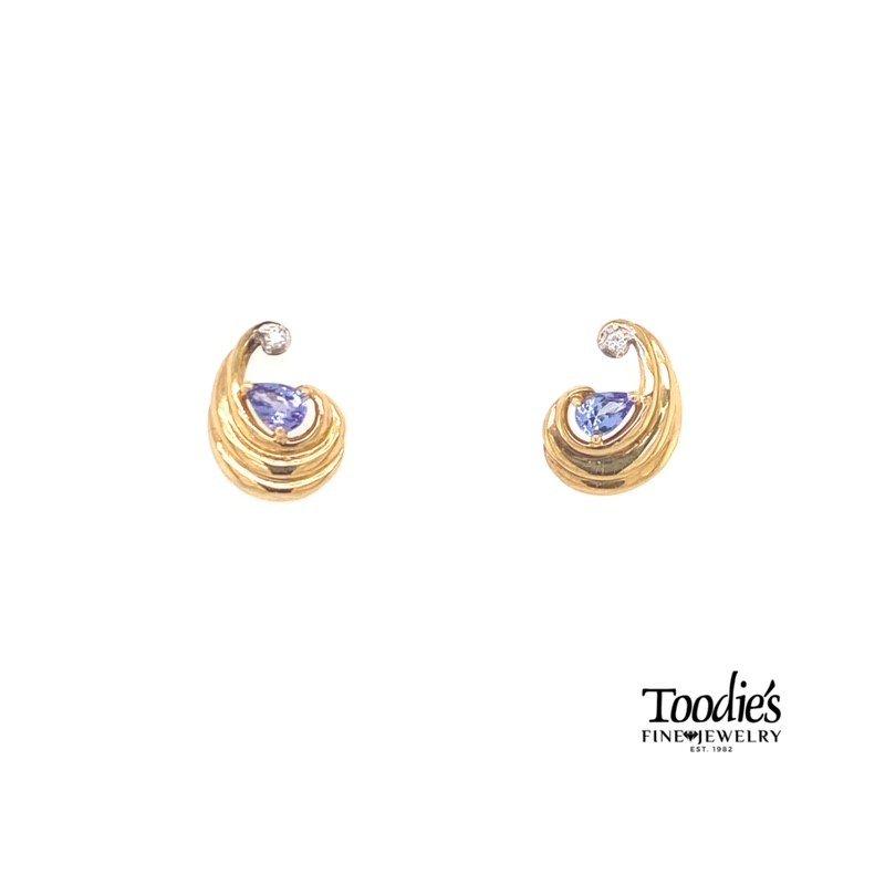 Toodie's Signature Fashion Swirly Pear Shaped Tanzanite And Diamond Earrings