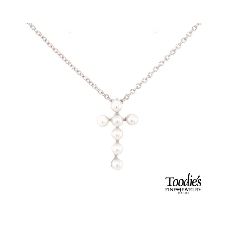 Toodie's Signature Fashion Freshwater Pear Cross Necklace