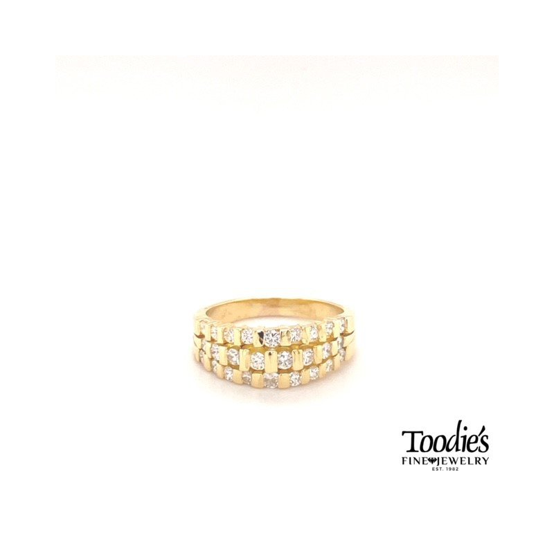 Toodie's Signature Fashion Diamond Triple Row Bar Set Ring