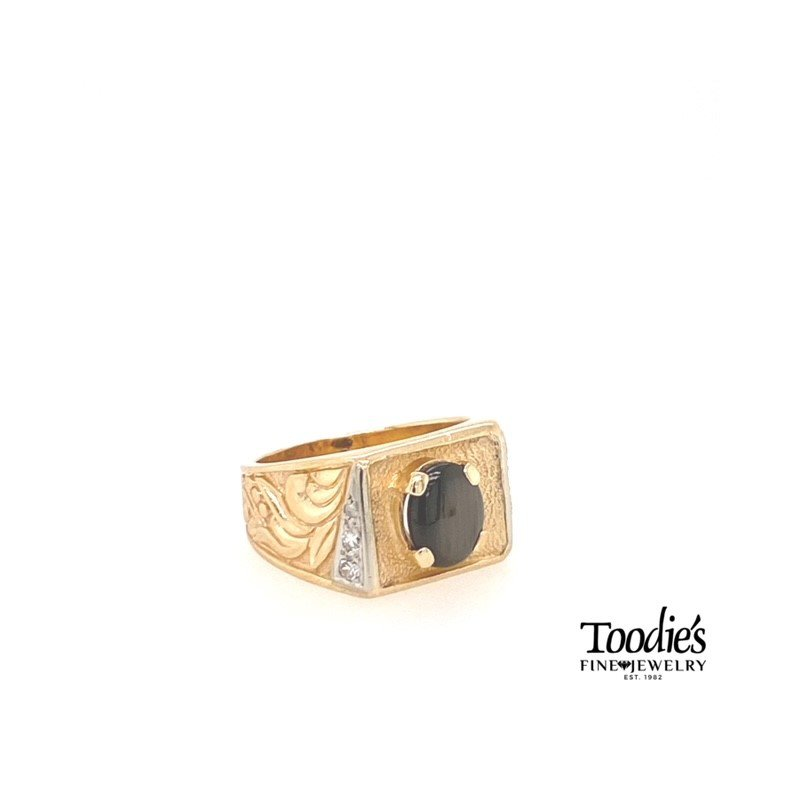 Toodie's Signature Fashion Engraved Catseye and Diamond Ring