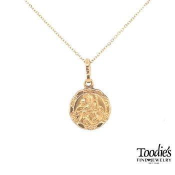 Gold Baptismal Medallion Necklace