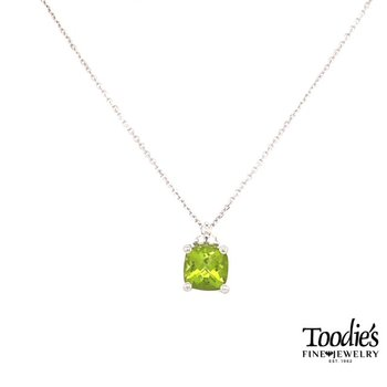 White Gold Peridot And Diamond Necklace