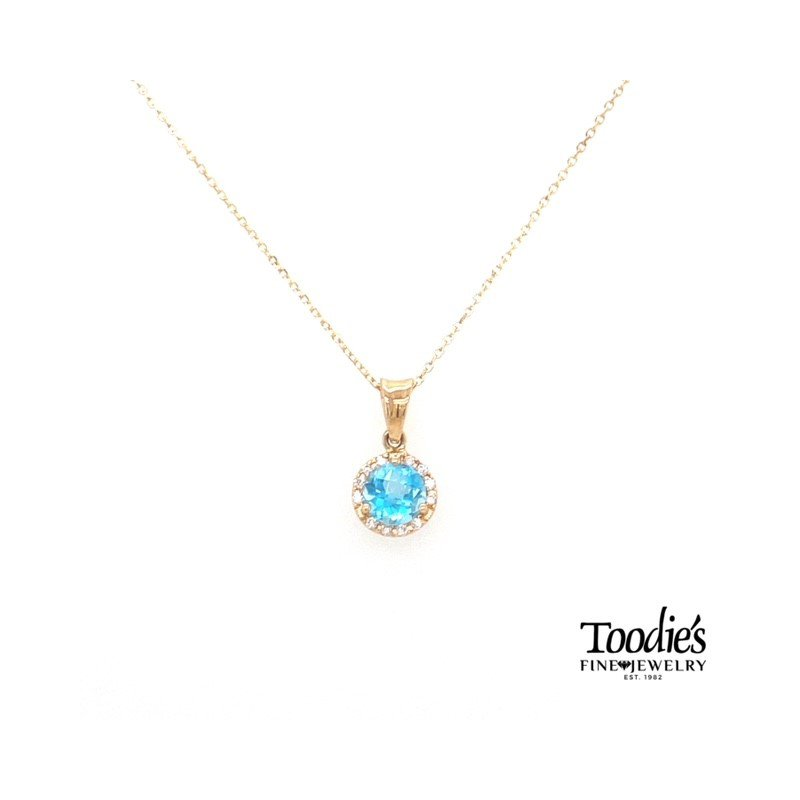 Toodie's Signature Fashion Yellow Gold Blue Topaz And Diamond Necklace