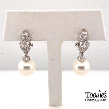 South Sea Pearl And Pave Diamond Drop Earrings