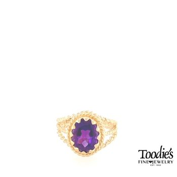 Amethyst Vintage Rope Design Ring