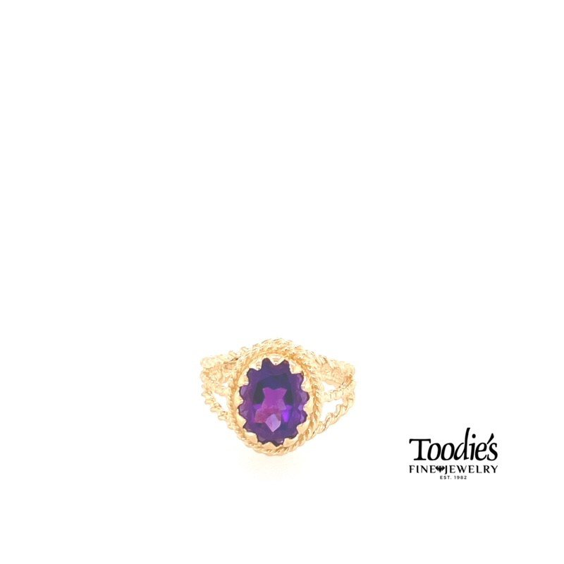 Toodie's Signature Fashion Amethyst Vintage Rope Design Ring