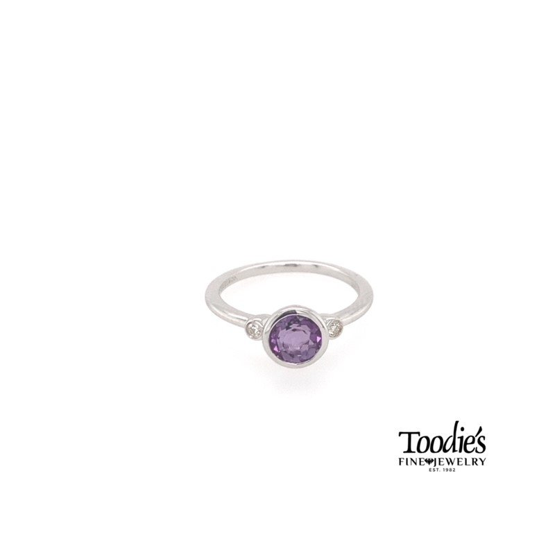 Gabriel Fashion Amethyst And Diamond Fashion Ring