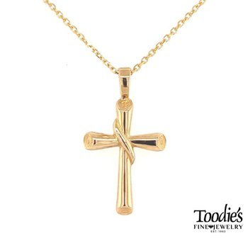 Gold Ribbon Design Cross Necklace