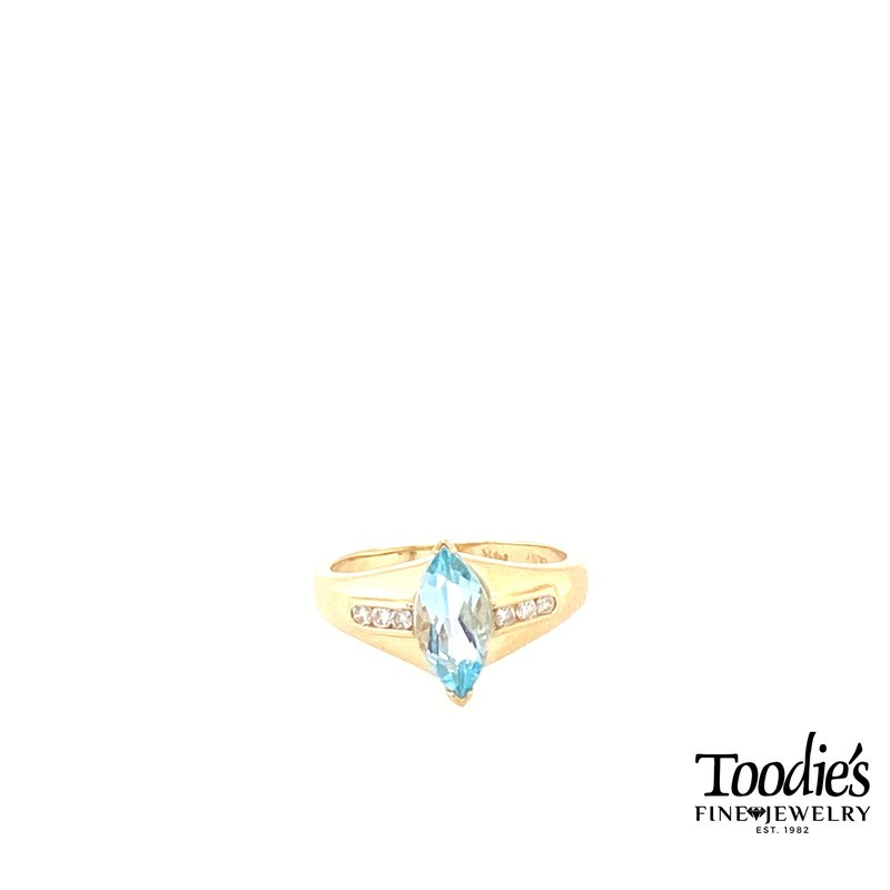 Toodie's Signature Fashion Marquise Blue Topaz And Diamond Cocktail Ring
