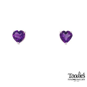 Heart Shaped Amethyst Earrings