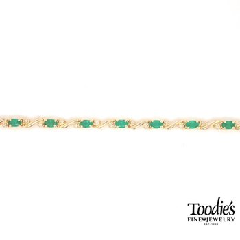 Oval Emerald And Diamond Bracelet