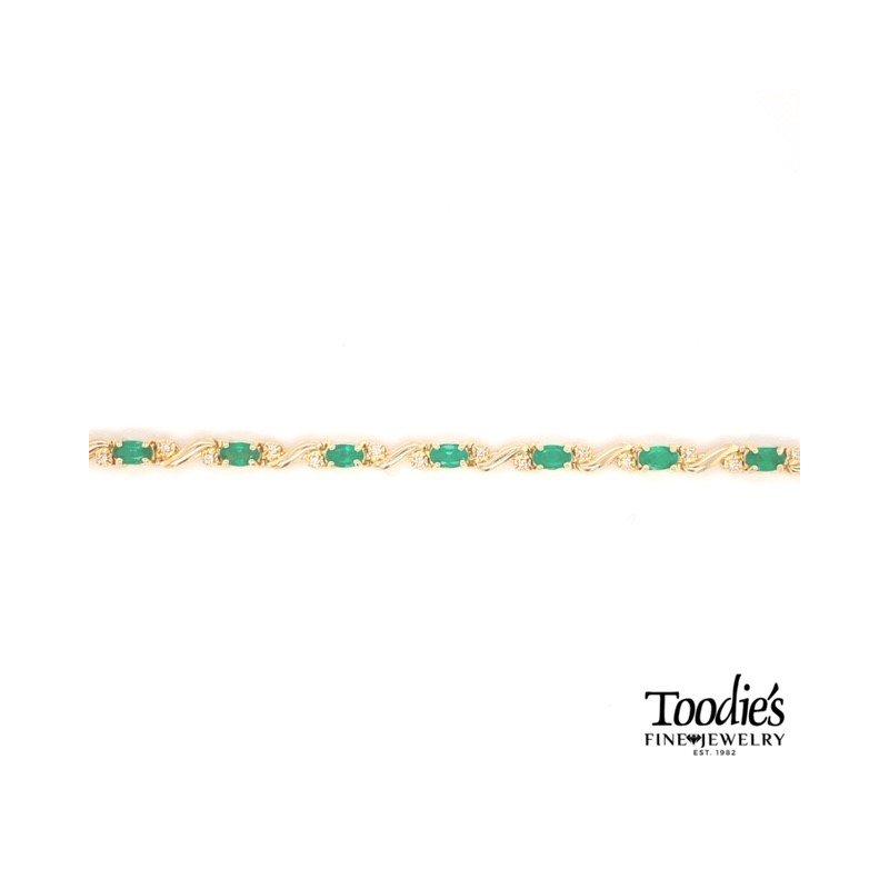 Toodie's Signature Fashion Oval Emerald And Diamond Bracelet