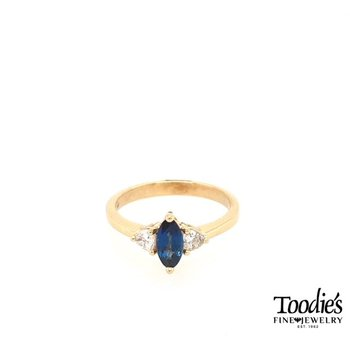 Marquise Sapphire and Trillion Diamond 3-Stone Ring