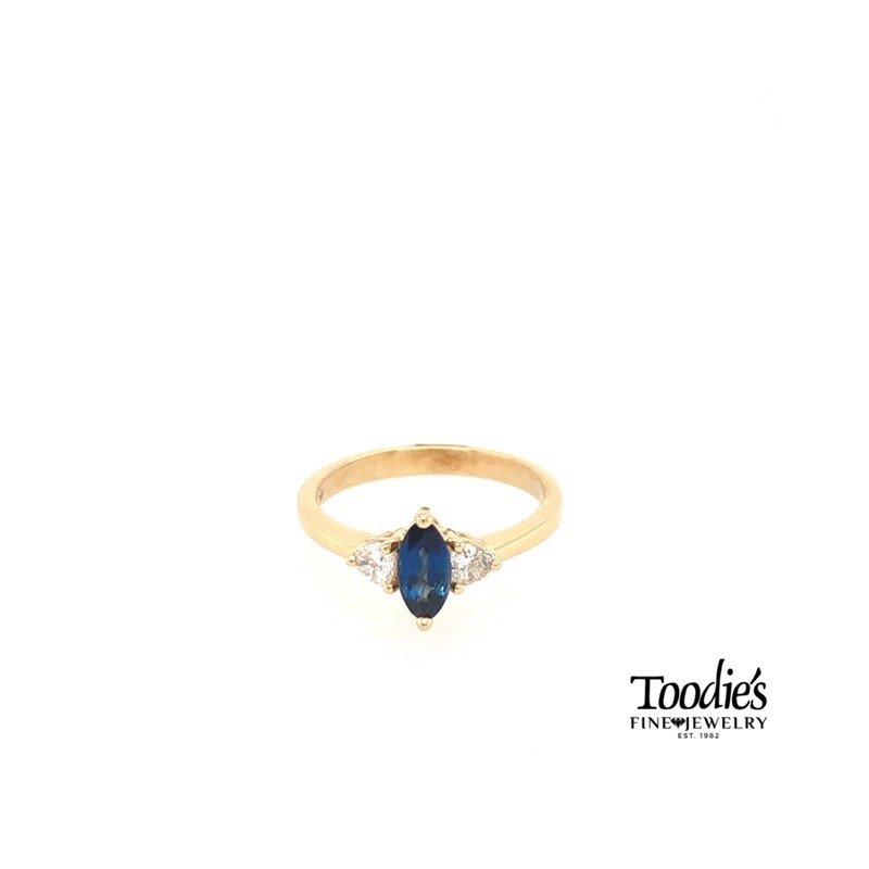 Toodie's Signature Fashion Marquise Sapphire and Trillion Diamond 3-Stone Ring