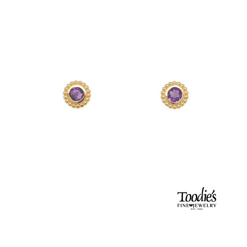 Phillip Gavriel Popcorn Bezel Amethyst Earrings