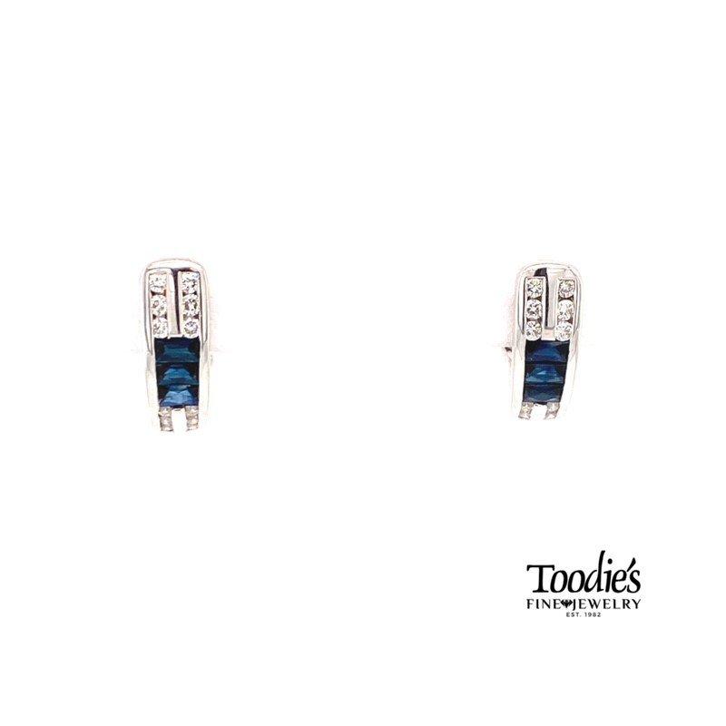 Toodie's Signature Fashion Sapphire And Diamond Half Hoop Earrings