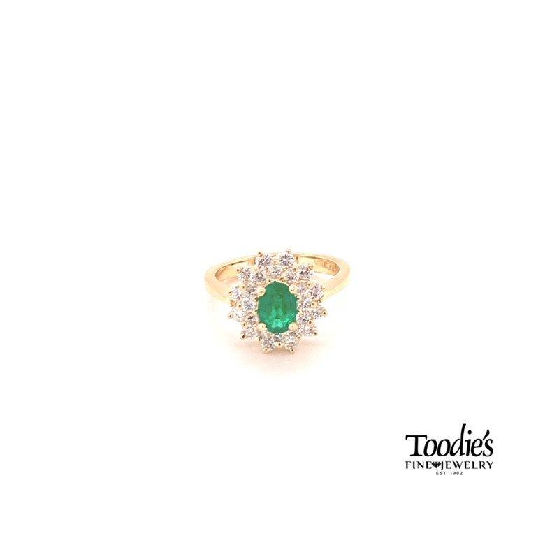 Toodie's Signature Fashion Emerald And Diamond Halo Ring