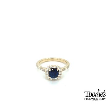 Blue Sapphire and Diamond Cushion Halo Ring