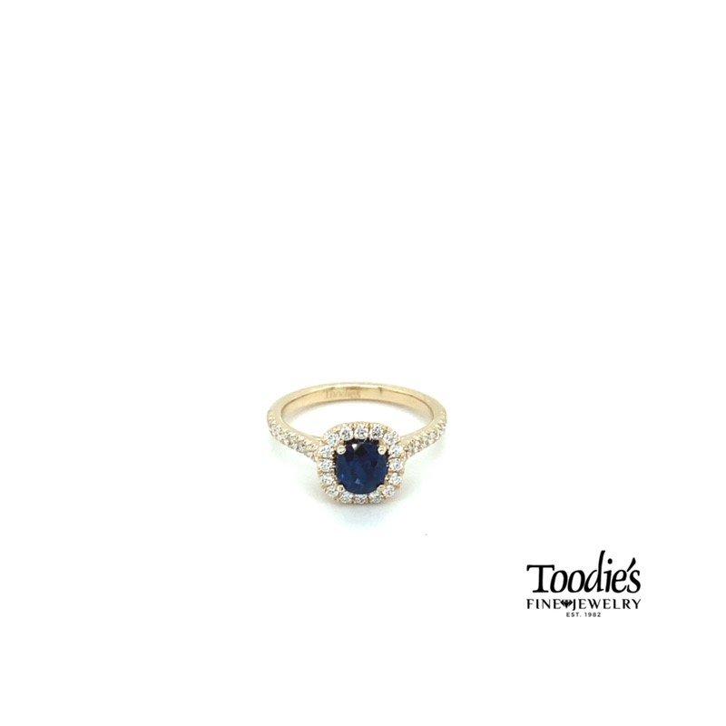 Toodie's Signature Fashion Blue Sapphire and Diamond Cushion Halo Ring