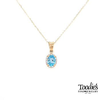 Yellow Gold Blue Topaz And Diamond Necklace