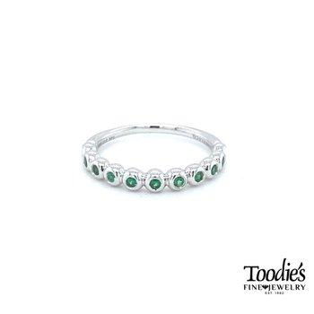 Bezel Set Emerald Stackable