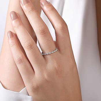 White Gold Marquise Shaped Pave' Stackable Band