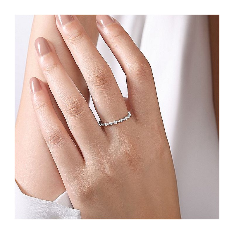 Gabriel Fashion White Gold Marquise Shaped Pave' Stackable Band