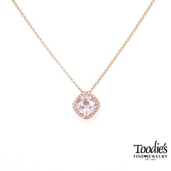 Rose Gold Rose Amethyst And Diamond Necklace