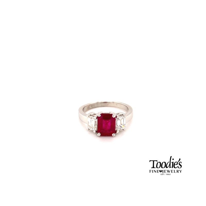 Toodie's Signature Fashion Ruby And Diamond Three Stone Ring