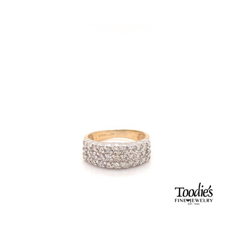 Toodie's Signature Fashion Vintage Triple Row Diamond Band