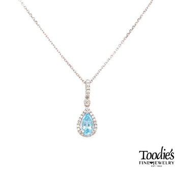 White Gold Aquamarine And Diamond Necklace