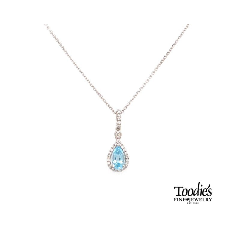 Toodie's Signature Fashion White Gold Aquamarine And Diamond Necklace