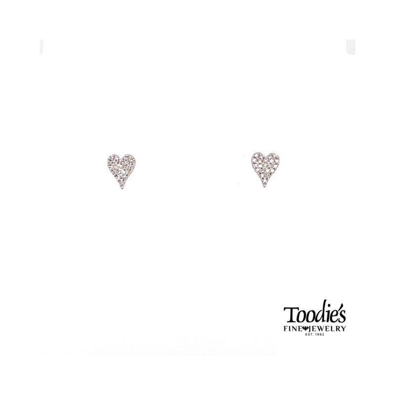 Shy Creation Pave Diamond Heart Earrings
