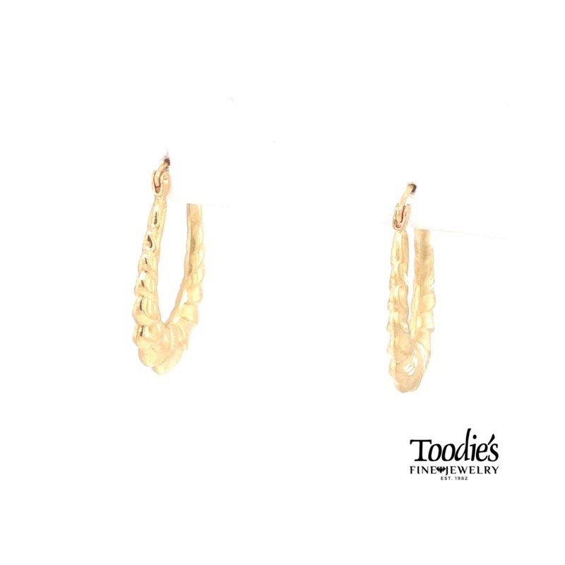 Toodie's Signature Fashion Elongated Textured Hoop Earrings