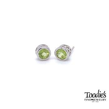 Silver Peridot Bezel Set Stud Earrings