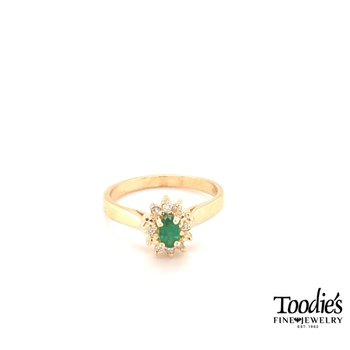 Oval Emerald & Diamond Cocktail Collection Halo Ring
