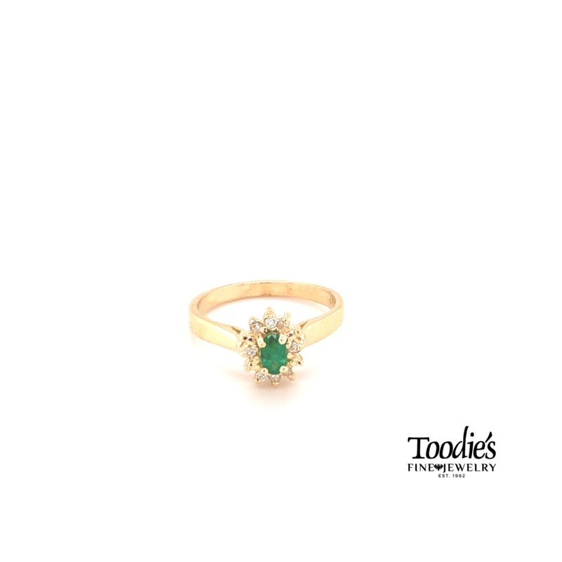 Toodie's Signature Fashion Oval Emerald & Diamond Cocktail Collection Halo Ring