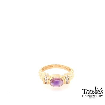 Vintage Inspired Cabochon Amethyst and Diamond Ring