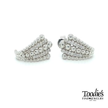 White Sapphire and Beaded Silver Earrings
