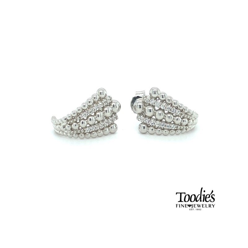 Gabriel Fashion White Sapphire and Beaded Silver Earrings