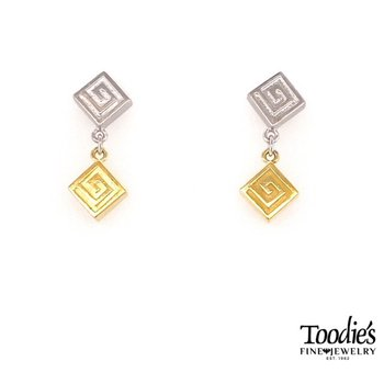 Swirly Square On Square Drop Earrings