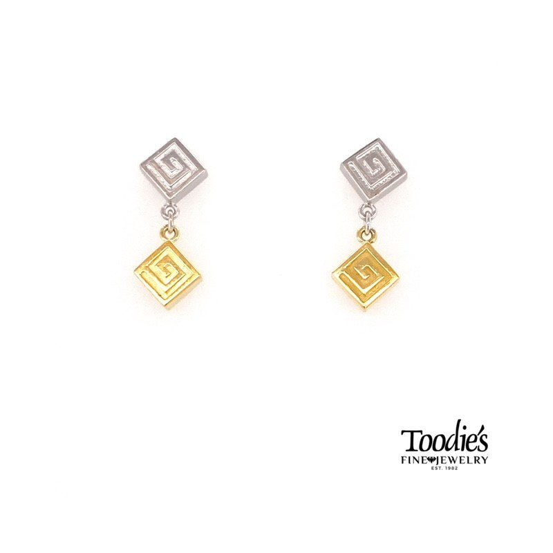 Charsinsky Designs Swirly Square On Square Drop Earrings